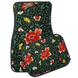 Alfombrilla Para Coche Sistema japonés floral del modelo del vintage de 4