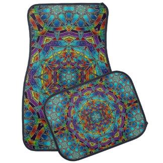 Alfombrilla Para Coche Sistema multicolor del diseño del vitral de 4