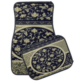 Alfombrilla Para Coche Sistema negro y del beige floral elegante de 4