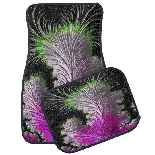 Alfombrilla Para Coche Sistema rosado y verde del diseño de la pluma de 4