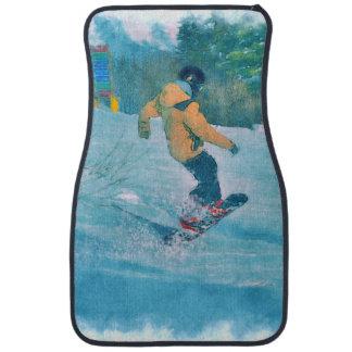 Alfombrilla Para Coche Snowboarder atrevido en el centro turístico de la