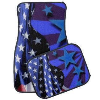 Alfombrilla Para Coche U.S.A. Bandera de América y estrellas azules