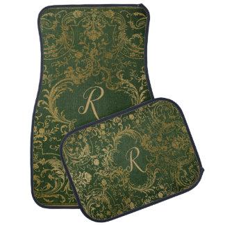 Alfombrilla Para Coche Verde adornado y sistema con monograma de la