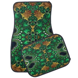 Alfombrilla Para Coche Verde y sistema decorativo del oro de 4