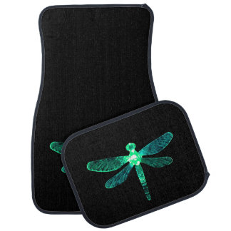 Alfombrillas de auto verdes de la libélula