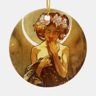Alfons Mucha: Luna Adorno Redondo De Cerámica
