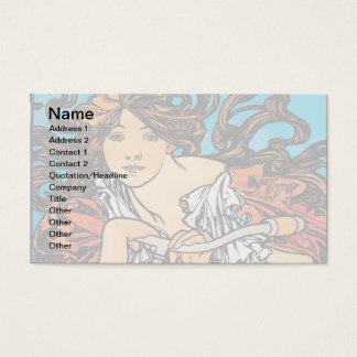 Alfonso Mucha - arte retro Nouveau de Perfecta de Tarjeta De Negocios