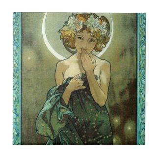 Alfonso Mucha Clair De Lune Tile Azulejo Cuadrado Pequeño