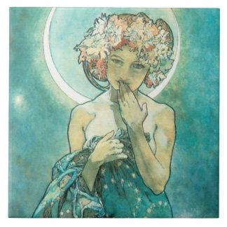 Alfonso Mucha Moonlight Clair De Lune Art Nouveau Azulejo Cuadrado Grande