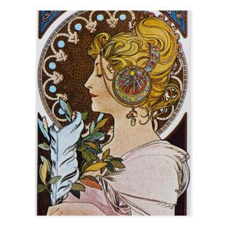 Alfonso Mucha. Penacho del La/la pluma, 1899 Postal