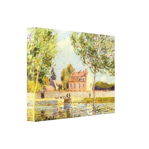 Alfred Sisley - casas en los bancos del Loing Lienzo Envuelto Para Galerías