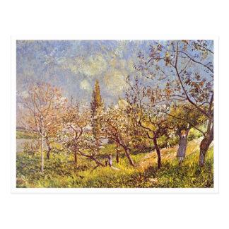 Alfred Sisley - huerta en primavera. Lona del acei Postales