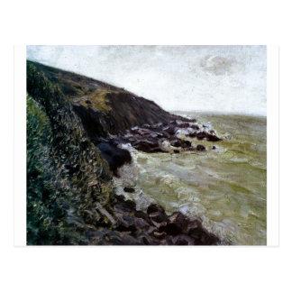 Alfred Sisley - roca del mar de la playa del aceit Tarjetas Postales