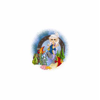 Algo arte a pescado del pixel de la sirena adorno fotoescultura