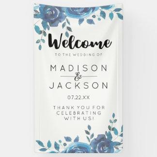 Algo recepción floral del boda de la acuarela azul