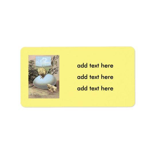 Algodón del huevo del polluelo de Pascua Etiqueta De Dirección