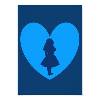 Alicia en amor del país de las maravillas en azul invitación 12,7 x 17,8 cm