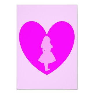 Alicia en amor del país de las maravillas en rosa invitación 12,7 x 17,8 cm