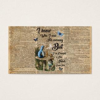 Alicia en arte del diccionario del vintage de la tarjeta de visita