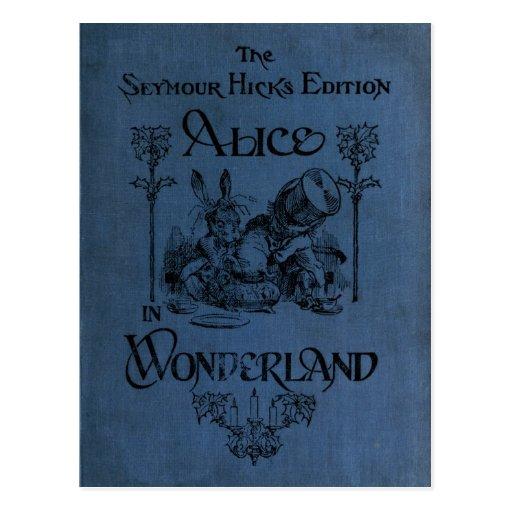 Alicia en cubierta de libro del país de las maravi postal