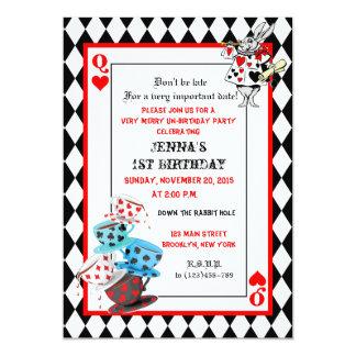 Alicia en cumpleaños del país de las maravillas invitación personalizada