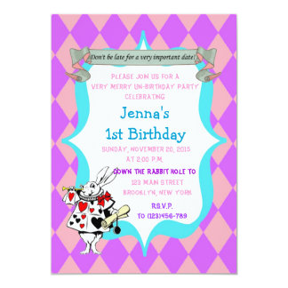 Alicia en cumpleaños del país de las maravillas invitaciones personalizada
