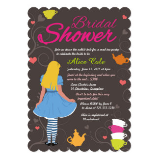 Alicia en ducha nupcial de la fiesta del té invitación 12,7 x 17,8 cm
