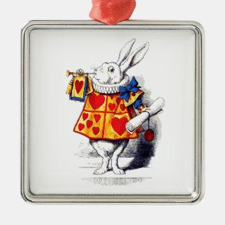 Alicia en el país de las maravillas el conejo adorno cuadrado plateado