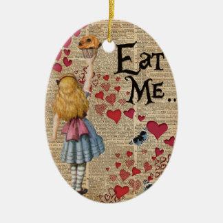 Alicia en el país de las maravillas me come adorno navideño ovalado de cerámica