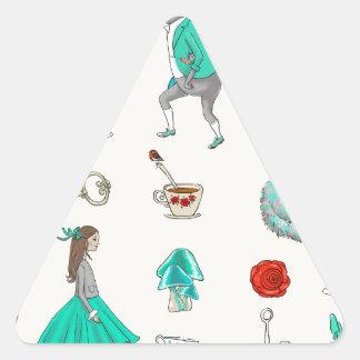 Alicia en el país de las maravillas pegatina triangular