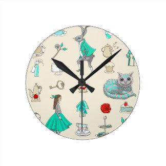 Alicia en el país de las maravillas reloj redondo mediano