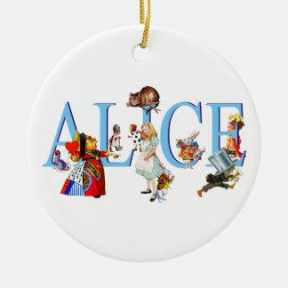 Alicia en el país de las maravillas y amigos adorno redondo de cerámica