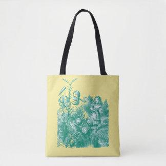 Alicia en el país de las maravillas y flores bolso de tela