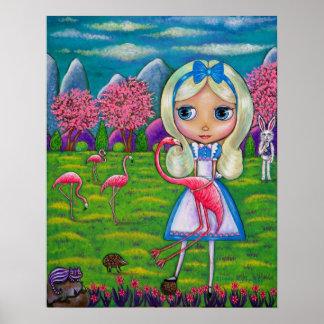 Alicia en erizo del conejo del país de las póster