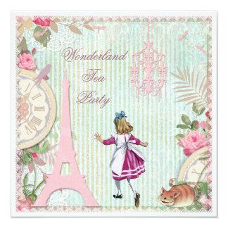 Alicia en fiesta del té elegante lamentable del invitación 13,3 cm x 13,3cm