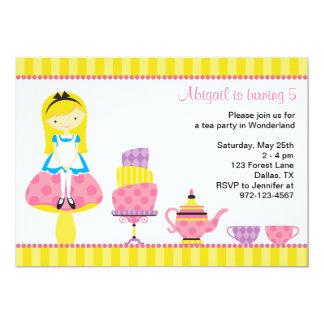 Alicia en invitaciones de la fiesta del té del invitación 12,7 x 17,8 cm