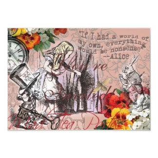 Alicia en sombrerero y conejo del país de las invitación 11,4 x 15,8 cm