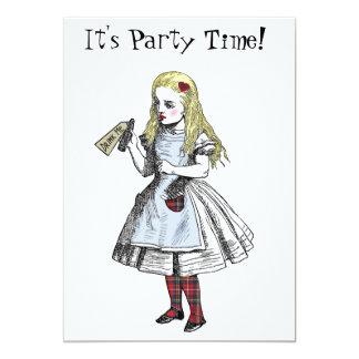 Alicia en tarjeta de la invitación del fiesta de