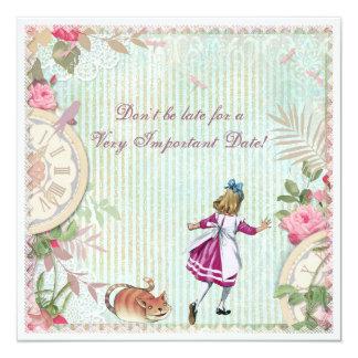 Alicia femenina en cumpleaños elegante lamentable invitación 13,3 cm x 13,3cm