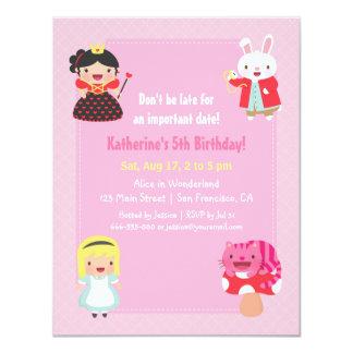 Alicia linda en fiesta de cumpleaños de los chicas invitación 10,8 x 13,9 cm