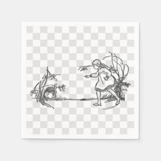 Alicia que persigue el conejo servilleta de papel