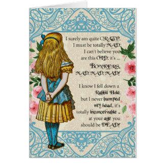 Alicia sobre la tarjeta de cumpleaños de la colina