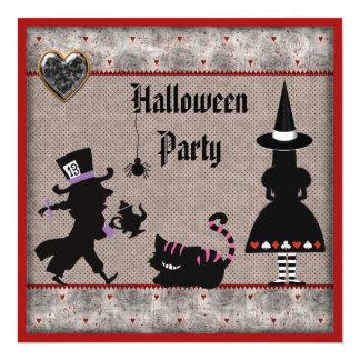Alicia, sombrerero enojado y fiesta de Halloween Invitación 13,3 Cm X 13,3cm