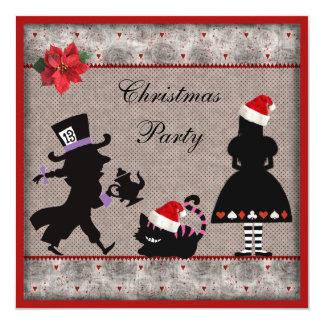 Alicia, sombrerero enojado y fiesta de Navidad del Invitación 13,3 Cm X 13,3cm