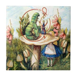 Alicia y Caterpillar en el país de las maravillas Azulejo Cuadrado Pequeño