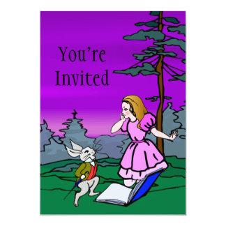 Alicia y conejo en bosque del país de las invitación 12,7 x 17,8 cm