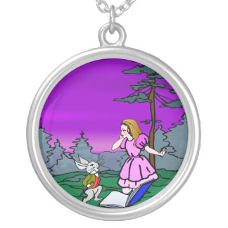 Alicia y conejo en bosque del país de las maravill pendiente
