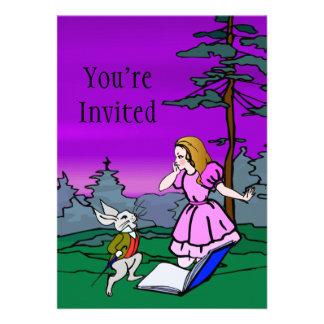 Alicia y conejo en bosque del país de las maravill invitacion personalizada