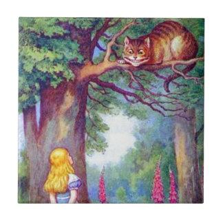 Alicia y el gato de Cheshire a todo color Azulejo Cuadrado Pequeño