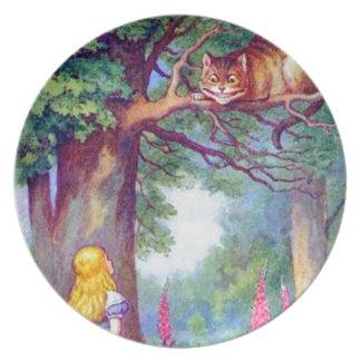 Alicia y el gato de Cheshire a todo color Plato Para Fiesta